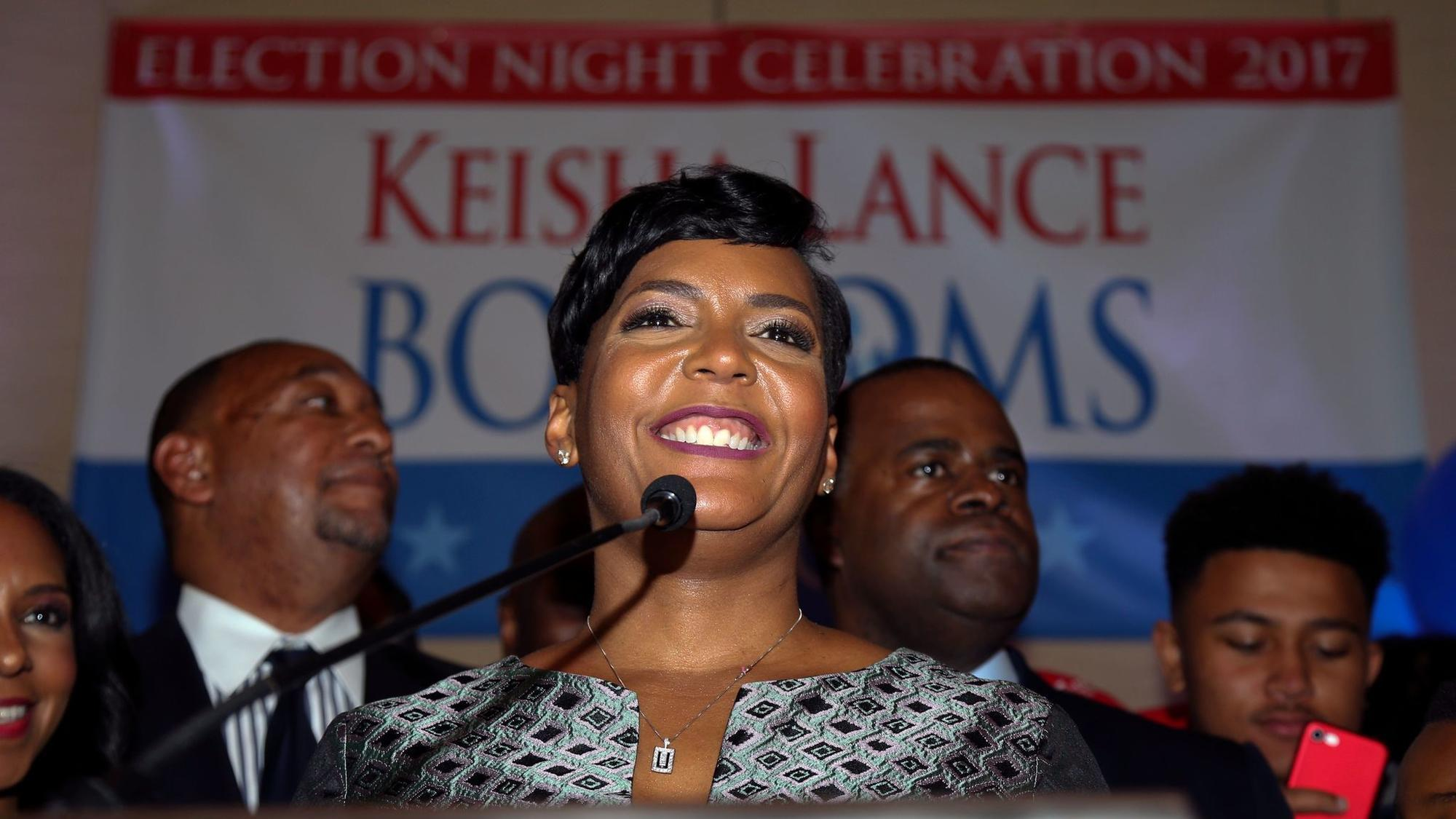 Atlanta mayoral candidate Keisha Lance Bottoms declares victory during an election night party. But with initial results showing a margin of just a few hundred votes, her rival asked for a recount. (John Bazemore / Associated Press)
