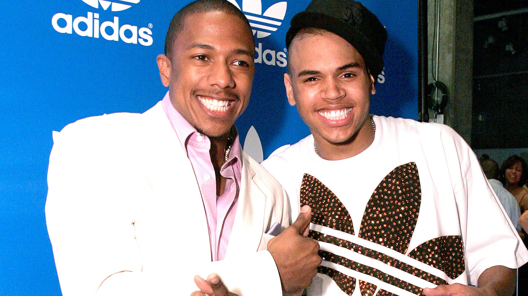 Nick Cannon (L) and Chris Brown