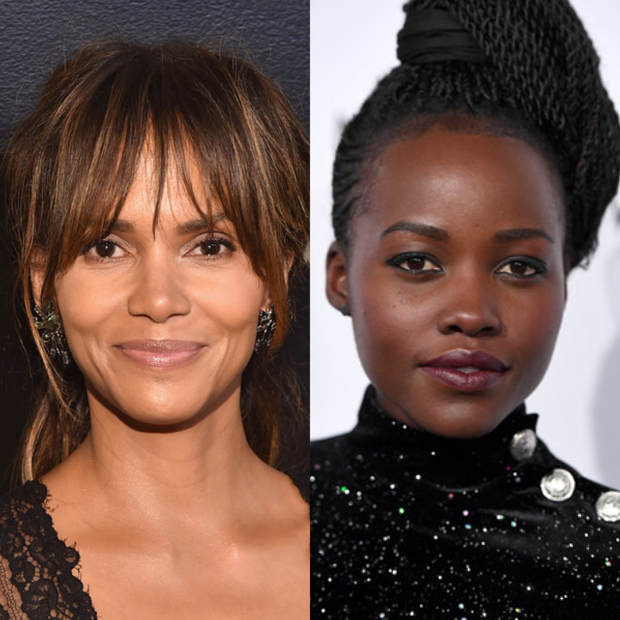 Actor Halle Berry attends Amazon Studios' Golden Globes Celebration at The Beverly Hilton Hotel on January 7, 2018 in Beverly Hills, California; Actor Lupita Nyong'o attends the The National Board Of Review Annual Awards Gala at Cipriani 42nd Street on January 9, 2018 in New York City.