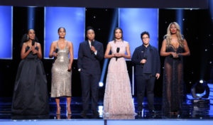 (L-R) Kerry Washington, Tracee Ellis Ross, Lena Waithe, Jurnee Smollett-Bell, Angela Robinson, and Laverne Cox speak onstage during the 49th NAACP Image Awards at Pasadena Civic Auditorium on January 15, 2018 in Pasadena, California.