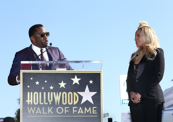 Mary J. Blige (R) and Sean 'Diddy' Combs attend the ceremony honoring Mary J. Blige with a Star on The Hollywood Walk of Fame on on January 11, 2018 in Hollywood, California.