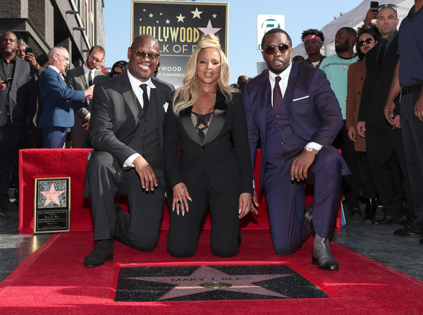 (L-R) Andre Harrell, Mary J. Blige, and Sean 'Diddy' Combs attend the ceremony honoring Mary J. Blige with a Star on The Hollywood Walk of Fame on on January 11, 2018 in Hollywood, California.