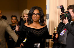 Oprah Winfrey arrives with the Cecil B. DeMille Award in the press room during The 75th Annual Golden Globe Awards at The Beverly Hilton Hotel on January 7, 2018 in Beverly Hills, California.