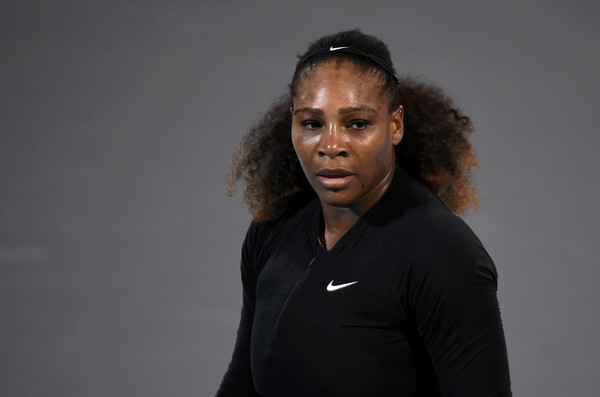 Serena Williams of United States looks on during her Ladies Final match against Jelena Ostapenko of Latvia on day three of the Mubadala World Tennis Championship at International Tennis Centre Zayed Sports City on December 30, 2017 in Abu Dhabi, United Arab Emirates.