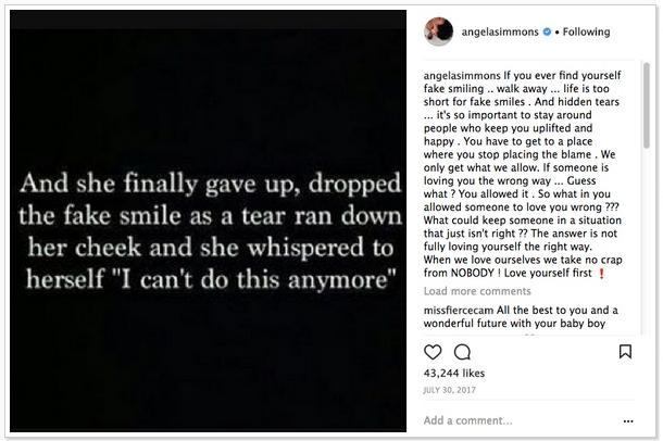angela simmons cryptic message about sutton