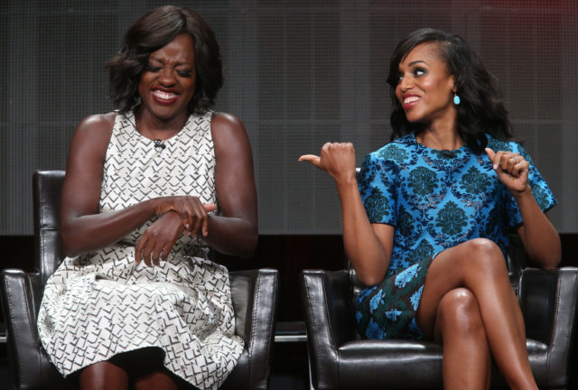 BEVERLY HILLS, CA - AUGUST 04: Actresses Viola Davis (L) and Kerry Washington speak onstage during the 'Grey's Anatomy,' 'Scandal,' and 'How To Get Away With Murder' panel discussion at the ABC Entertainment portion of the 2015 Summer TCA Tour at The Beverly Hilton Hotel on August 4, 2015 in Beverly Hills, California. (Photo by Frederick M. Brown/Getty Images)