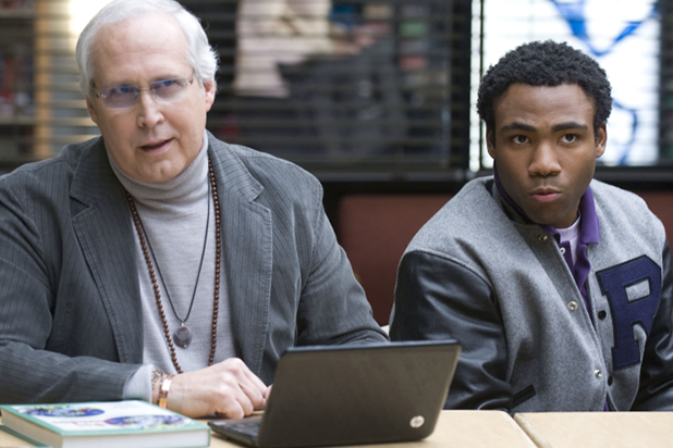 """Chevy Chase and Donald Glover in """"Community"""""""