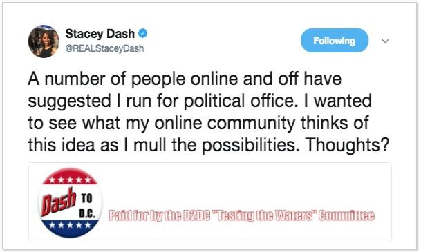 stacey dash tweet - shhould i run for office