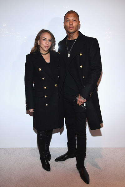 Chloe Green (L) and Jeremy Meeks attend the Balmain Homme Menswear Fall/Winter 2018-2019 show as part of Paris Fashion Week on January 20, 2018 in Paris, France.