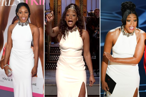 "Tiffany Haddish wearing her $4000 Alexander McQueen gown on three separate occasions: (L-R) ""Girls Trip"" premiere, ""Saturday Night Live"" and the Academy Awards"