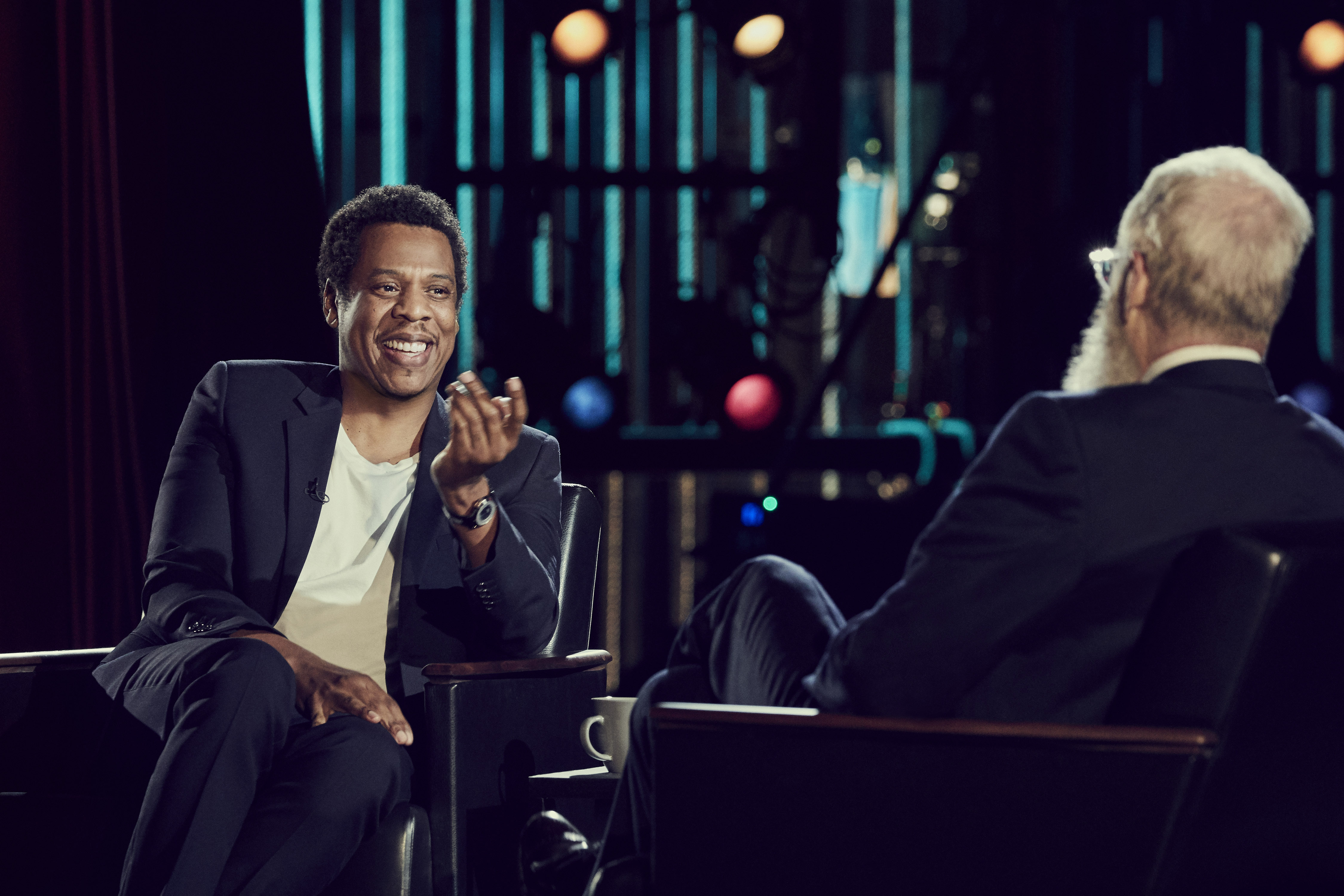 """Jay Z and David Letterman on """"My Next Guest Needs No Introduction with David Letterman"""" (Joe Pugliese/Netflix)"""