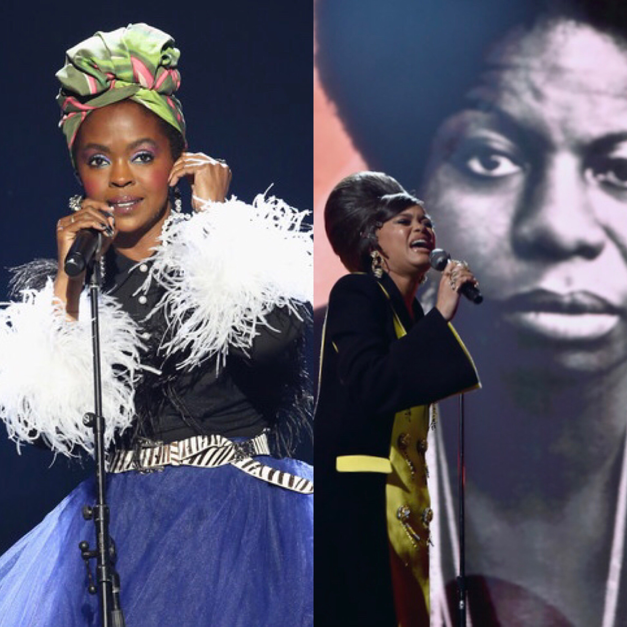 Lauryn Hill (L) and Andra Day perform Nina Simone tribute at the Rock and Roll Hall of Fame Induction Ceremony (Getty Images)