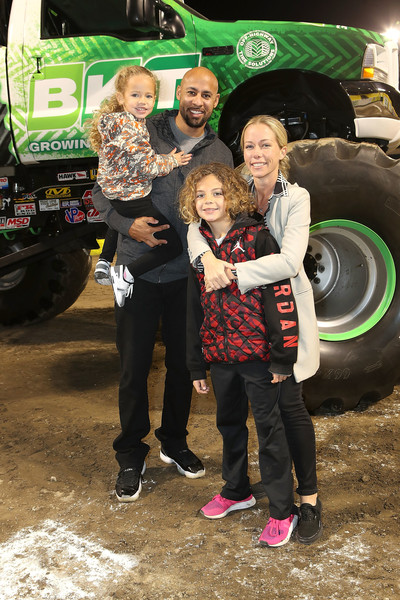 TV Personality Kendra Wilkinson Baskett, Hank Baskett, son Hank and daughter Alijah, attend Monster Jam Celebrity Event at Angel Stadium on February 24, 2018 in Anaheim, California.