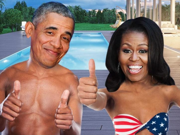 barack & michelle & swimming pool