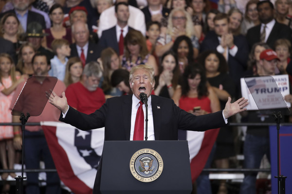 U.S. President Donald Trump speaks during a rally at the Nashville Municipal Auditorium, May 29, 2018 in Nashville, Tennessee.