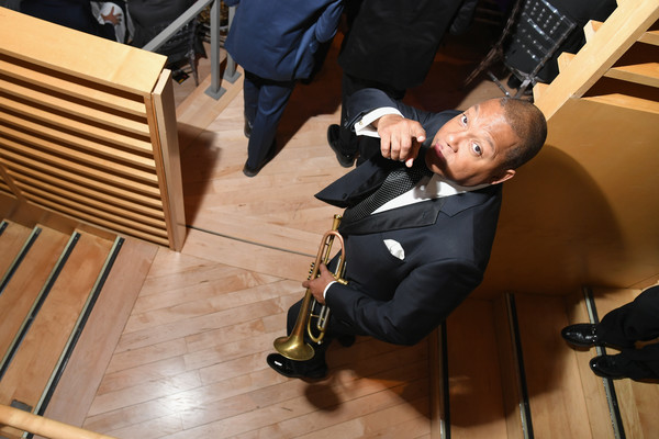 Wynton Marsalis performs in a second line during Jazz At Lincoln Center's 30th Anniversary Gala at Jazz at Lincoln Center on April 18, 2018 in New York City.