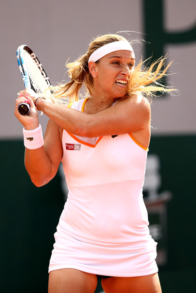 Dominika Cibulkova of Slovakia plays a backhand duirng her ladies singles first round match against Julia Georges of Germany during day three of the 2018 French Open at Roland Garros on May 29, 2018 in Paris, France.