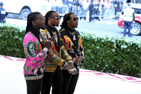 (L-R) Offset, Quavo, and Takeoff of Migos attend the Heavenly Bodies: Fashion & The Catholic Imagination Costume Institute Gala at The Metropolitan Museum of Art on May 7, 2018 in New York City.