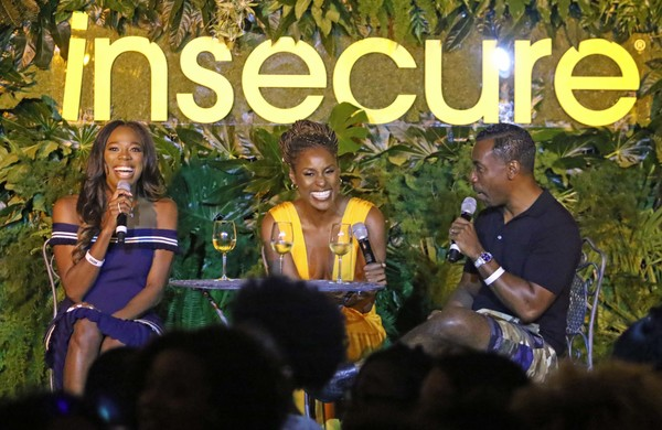 Yvonne Orji, Issa Rae and Prentice Penny all participate in a panel discussion during HBO's Insecure Live Wine Down at Essence at the Ace Hotel on July 7, 2018 in New Orleans, Louisiana.
