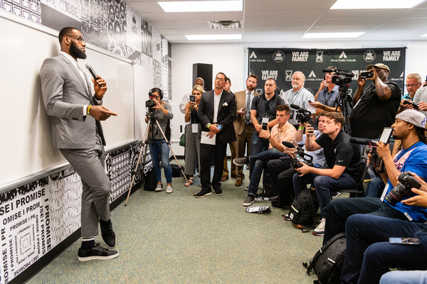 LeBron James addresses the media after the opening ceremonies of the I Promise School on July 30, 2018 in Akron, Ohio. The School is a partnership between the LeBron James Family foundation and the Akron Public School and is designed to serve Akron's most challenged students.