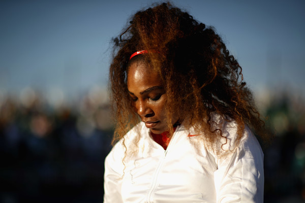 Serena Williams of the United States serves gets ready by her chair before her match against Johanna Konta of Great Britain during Day 2 of the Mubadala Silicon Valley Classic at Spartan Tennis Complex on July 31, 2018 in San Jose, California.