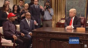 snl - kanye jim brown trump reporters oval office