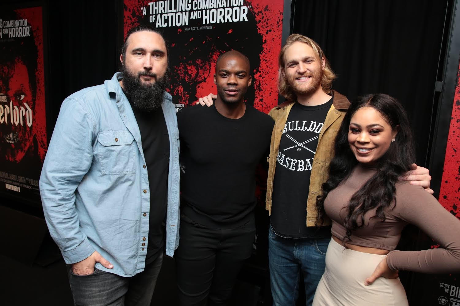 """Overlord"" Director, Julius Avery with cast members Jovan Adepo, Wyatt Russell and EUR associate Angel Saunders."