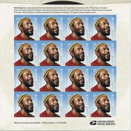 marvin gaye sheet of stamps