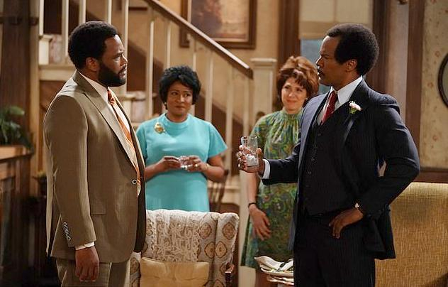 anthony anderson - jamie foxx & others - live tv version of all in thje family - the jeffersons - via abc-getty