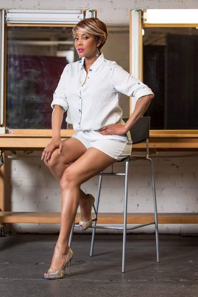 vivica a fox - sexy white sheer shorts