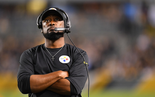 Mike Tomlin of the Pittsburgh Steelers looks on during the game against the Baltimore Ravens at Heinz Field on September 30, 2018 in Pittsburgh, Pennsylvania. (Sept. 29, 2018 - Source: Joe Sargent/Getty Images North America)