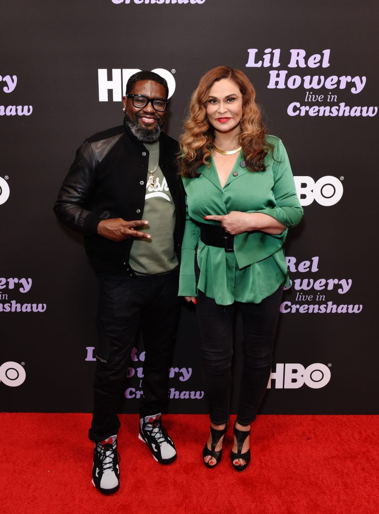 Lil Rel Howery (L) and Tina Knowles