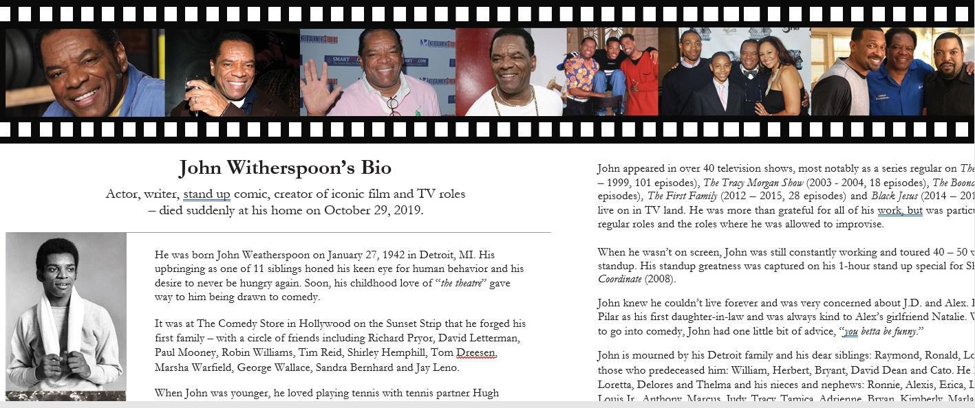 John Witherspoon Celebration of Life program bio & pics