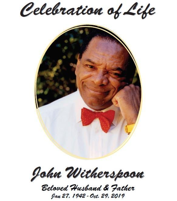 John Witherspoon Celebration of Life program cover
