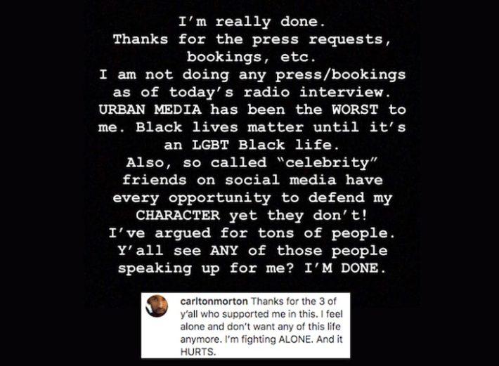 Carlton Morton's social media post