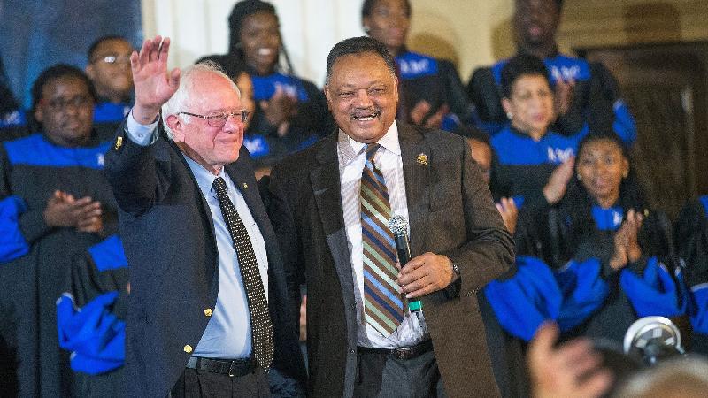 Bernie Sanders & Jesse Jackson (getty)