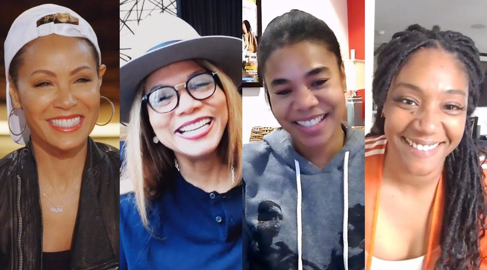 Jada's Girls Trip co-stars, Regina Hall, Tiffany Haddish and Queen Latifah is available now on Facebook Watch