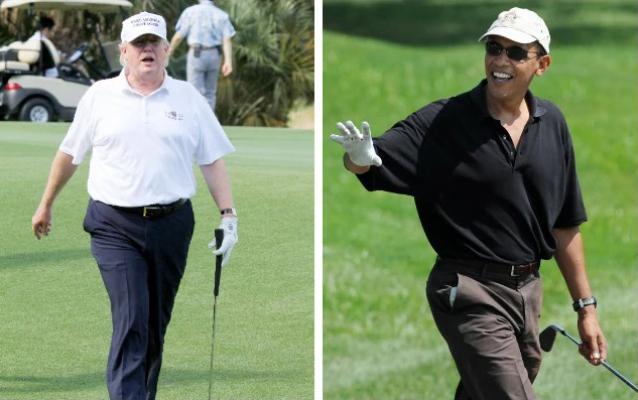 Donald Trump - Barack Obama (golfing - Getty)
