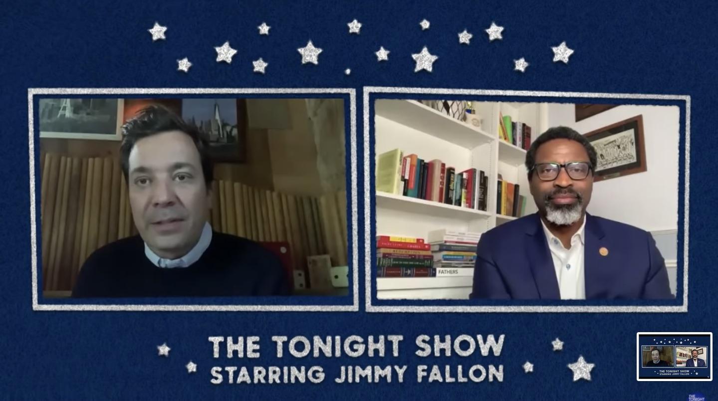 Jimmy Fallon and Derrick Johnson