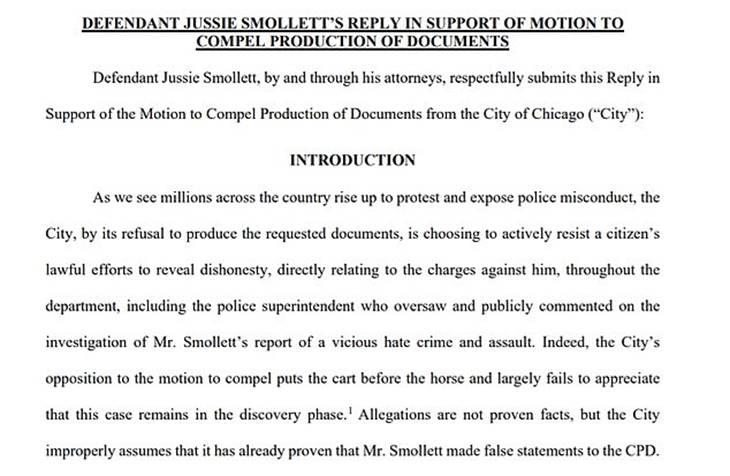 Jussie Smollett's new legal docs in Chicago case