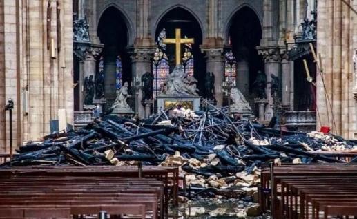 Vandalized church (Notre Dame) - getty