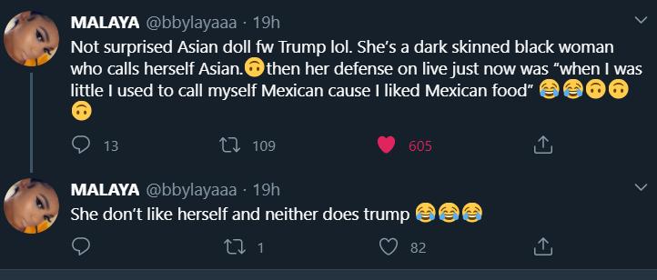 Asian Doll Trump replies on Twitter2