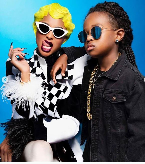Ciara and her son as Cardi and Offset for Halloween