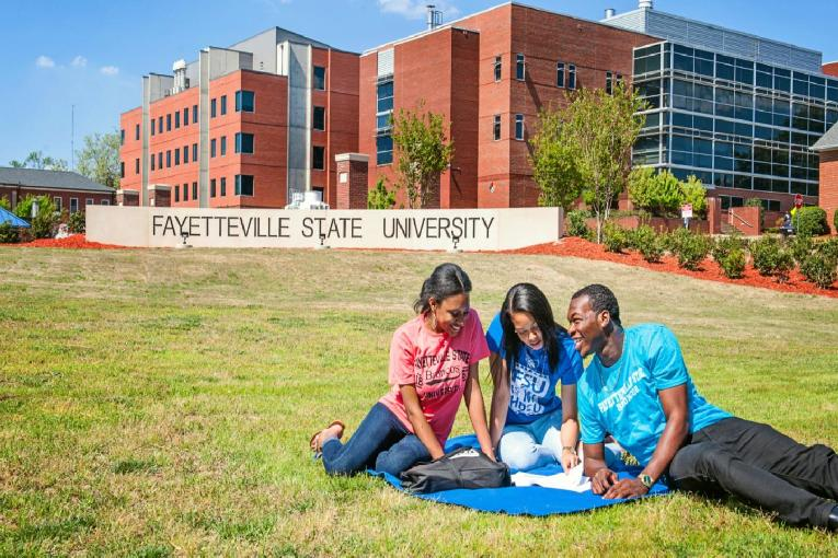 Fayetteville State University (students on campus greens & dorms in bgrd)