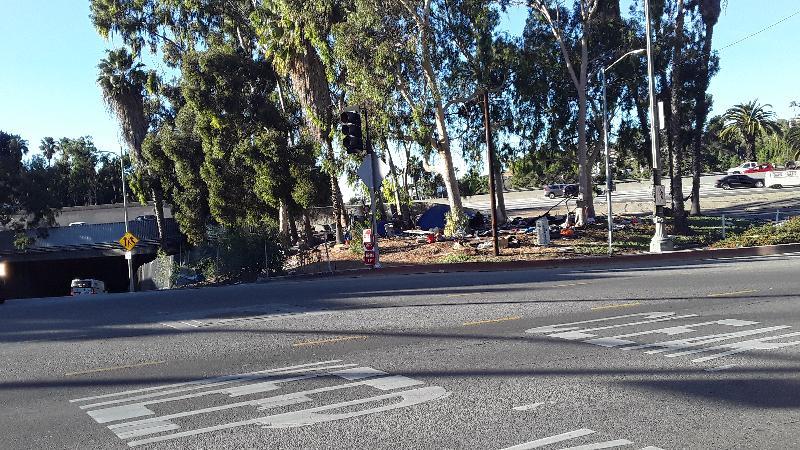 Homelessness - Highland Bridge near Hollywood Bowl