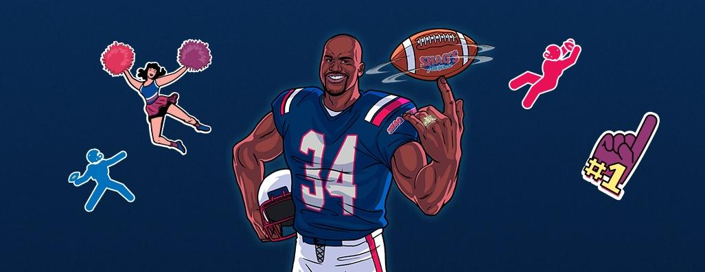 The Shaq Bowl - footballer number 34 and football icons