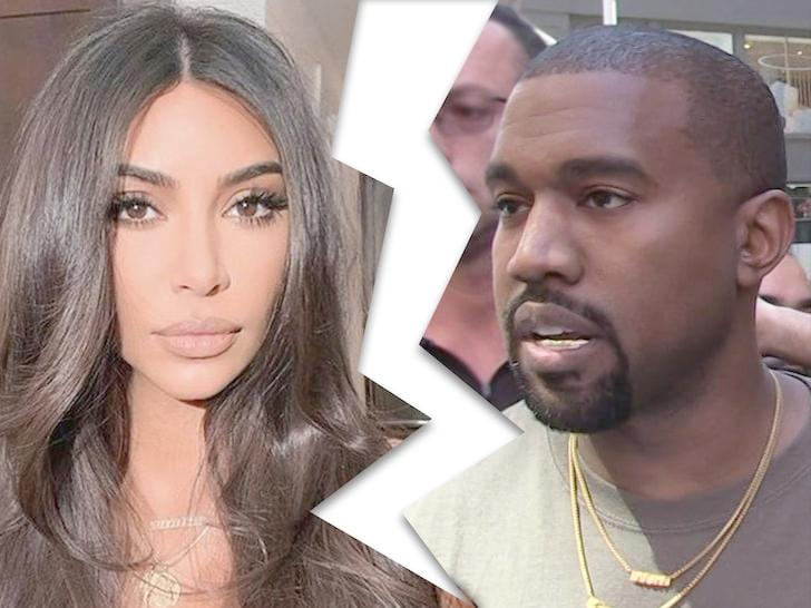 Kim Kardashian - Kanye West - divorcesplit (TMZ composite)