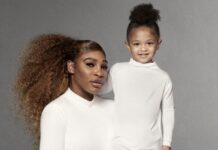 Serena Williams and daughter Olympia for Stuart Weitzman