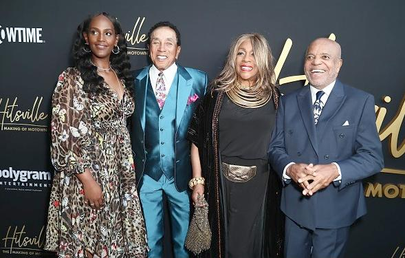Ethiopia Habtemariam, Smokey Robinson, Mary Wilson and Berry Gordy