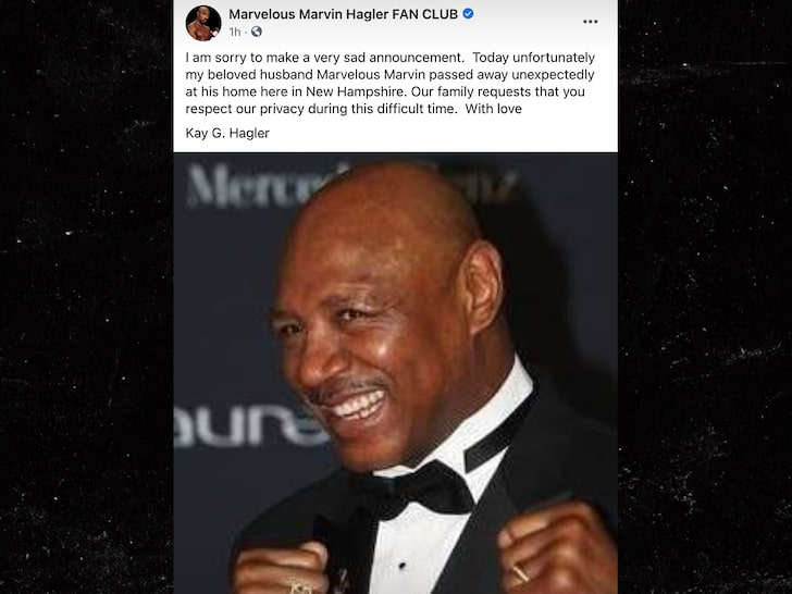 Marvin Hagler death posting by wife